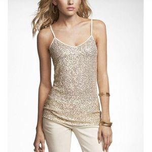 NWOT Silver Sequined Tank Top